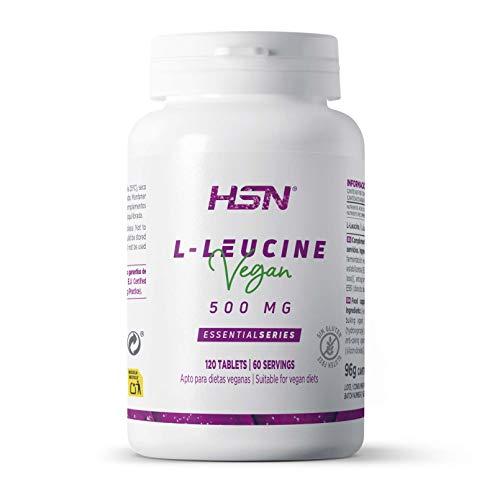 L-Leucina de HSN | 2000mg por Dosis Diaria | Aminoácido Esencial | Suplemento Deportivo Recuperador Muscular y Ganar Masa Muscular | 100% Vegano, Sin Gluten, Sin Lactosa, 120 Tabletas