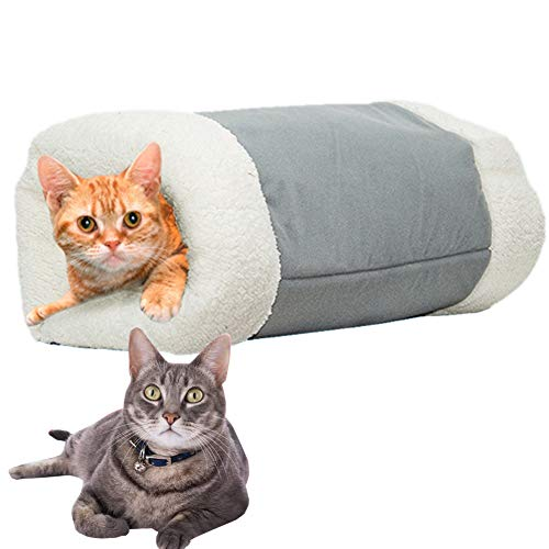 XDYFF 2-In-1 Pet Bed Over with Zipper, Snooze Tunnel And Mat for Pets Cats Dogs And Kittens for Travel Or Home, Foldable, Washable,Gray