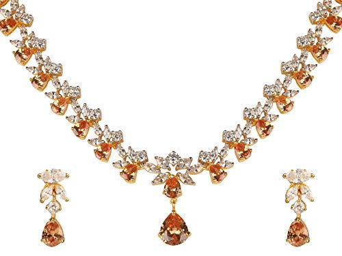 Swasti Jewels Gold Plated CZ Necklace and Earrings Set for W