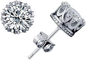 Celebrity Jewellery Argent 925 Shining AAA Zircon Couronne Solitaire boucles d'oreille Femme Bijoux