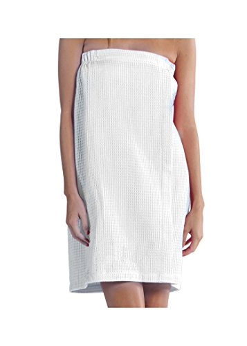 BY LORA Lightweight Waffle Cover Up, Spa Bath Wrap Towel for Women, White