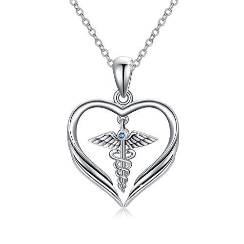 Collana da infermiera in argento Sterling con ciondolo a forma di angelo caduceo per infermieristica, laurea, regalo per personale medico, infermiere, donne e ragazze, regalo per il cuore