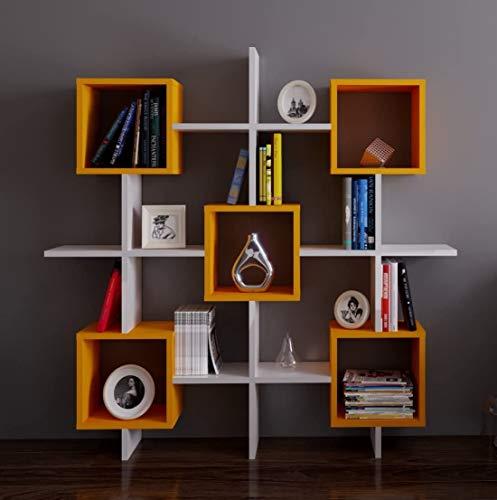 HOMIDEA Royal Libreria - Scaffale Decorativo - Scaffale per Ufficio e Soggiorno dal Design Moderno (Bianco/Arancione)