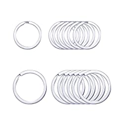 """PERFECT SIZE: The Metal Split Key Ring Approx 1"""" (25mm) 1.25'(30mm)' In Diameter, We Give You the Standard Size of the Split Key Chain Rings. GOOD QUALITY:Polished round side and brushed flat side craft combination. It's cheap though, we are also car..."""