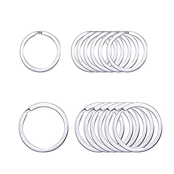 Key Rings,Key Ring Keyring Rustproof Dog Tag Ring Flat Key Rings Rings Split Keyrings for Home Car Keys Attachment,12 Pcs