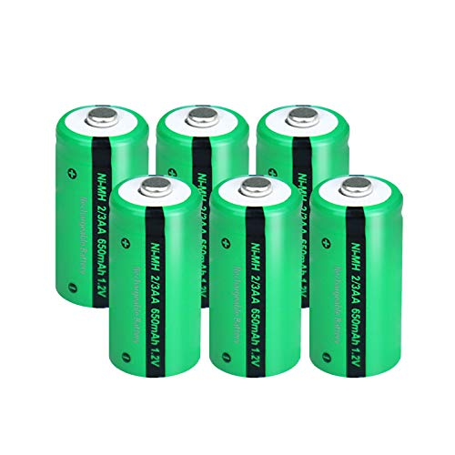 2/3AA Size NIMH Rechargeable Battery 1.2V 650mah Button-Top Battery 6Pcs
