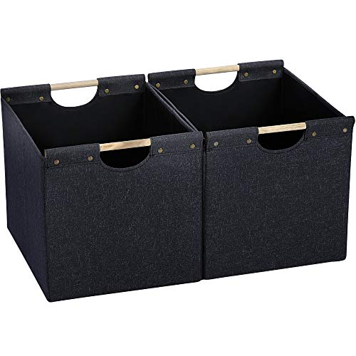 HOONEX Large Collapsible Storage Bins, Linen Fabric, 2 Pack, Storage Baskets with Wooden Carry Handles and Sturdy Heavy Cardboard, for Home, Office, Car, Nursery, Black