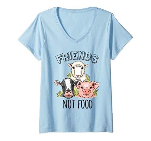 Mujer Amigos veganos No comida Regalo Derechos de los animales Camiseta Cuello V