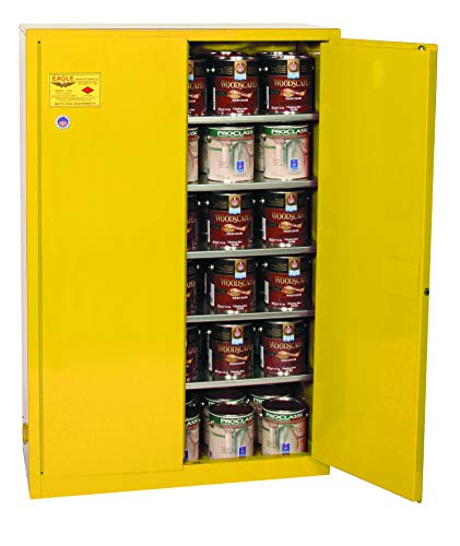 Eagle YPI47 Safety Cabinet for Paint And Ink, 2 Door Manual Close, 60 gallon, 65Height, 43Width, 18Depth, Steel, Yellow