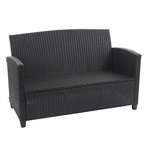 Mendler XXL Poly-Rattan Garnitur HWC-F10, Balkon-/Garten-/Lounge-Set Sitzgruppe, Sofa Sessel mit Kissen Spun Poly – anthrazit - 3