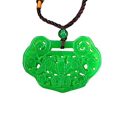 Collar con Colgante De Jade Verde, Joyería, Amuleto para Hombres Y Mujeres, Regalos para Amuleto, Jadeíta De Doble Cara Chino Tallado Natural