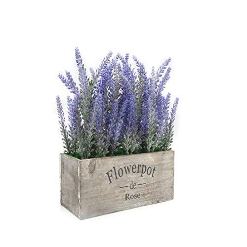 MOBDY Fleur Artificielle, Plante en Pot Fleur Artificielle Plante en Pot de Lavande pour la décoration intérieure (Fleur Pourpre, Plateau en Bois)