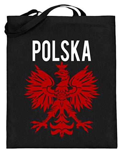 Polska Poland Polen Wappen Flagge Fahne National Motiv - Schlichtes Und Witziges Design - Jutebeutel (mit langen Henkeln)