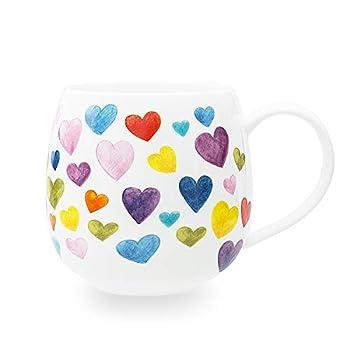 Cute Mugs Colorful Heart Shaped Ceramic Coffee Mug Cups 13oz Fine Bone China Heart Mug Perfect Birthday Gifts Christmas Mugs for Women Mom Friends Coworker Boss