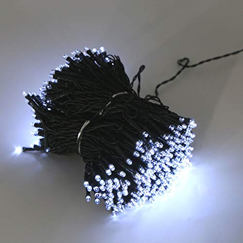 ColdShine 500 LED String Lights Solar String Fairy Lights Multi Function Flashing Fairy Light LED Outdoor Decorative Lights For Garden Party And Wedding Cool White Light