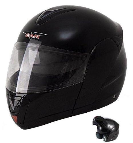 Protectwear KH-V210-MT-M Motorradhelm, Integralhelm, Klapphelm KH-V210-MT mit Integrierter Sonnenblende, Größe M, schwarz-matt