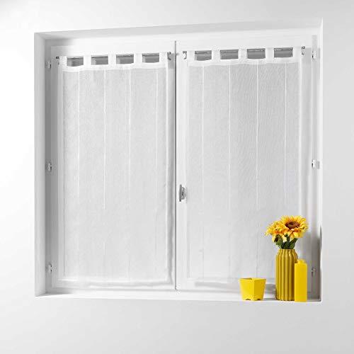 Douceur d'Intérieur, Fenster-Gardinen, mit Schlaufen, Krepp-Gewebe, Polyester/Chenille-Fasern, Polyester, weiß, 120 x 60 cm