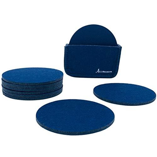 Allseasons Juego de 6 posavasos de fieltro para vasos y botellas redondos, color azul oscuro, con caja de almacenamiento, posavasos para vasos, lavables, posavasos de fieltro