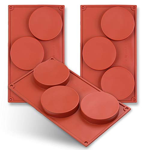 3-Cavity Disc Shape Silicone Mold, 3 Packs Coaster,