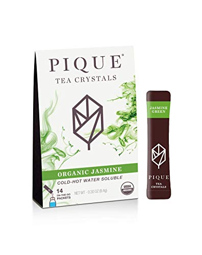 Pique Tea Organic Jasmine Green Tea Crystals - Immune Support, Gut Health, Fasting -14 Single Serve...