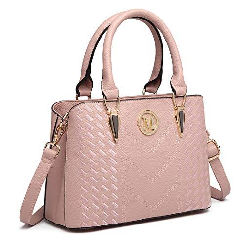 Miss Lulu Damen Handtasche Umhängetasche Shopper Tote Henkeltasche Top-Griff Tragentasche LG6865 (Pink)