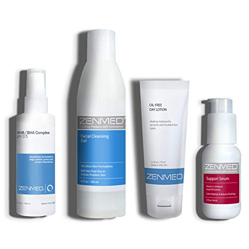 ZENMED Acne Rosacea Bundle with Facial Cleanser, Vitamin C Support Serum, Oil-Free Lotion, AHA/BHA Complex