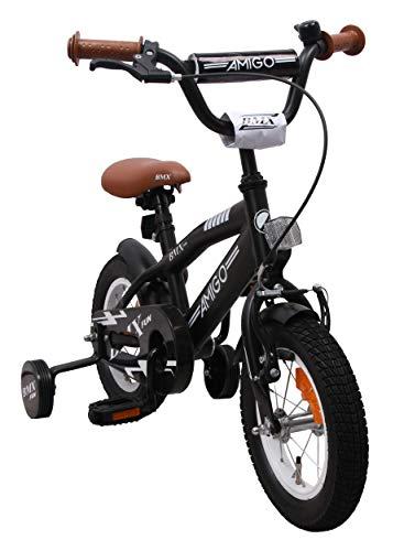 BMX Fun - Kinderfahrrad - 12 zoll - Jungen - mit Rücktritt und Stützräder - ab 3 Jahre - Schwarz