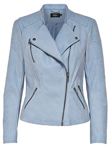 Only Onlava Faux Leather Biker Otw Noos, Chaqueta para Mujer, Azul Faded Denim, X-Small (Talla del Fabricante: 34)