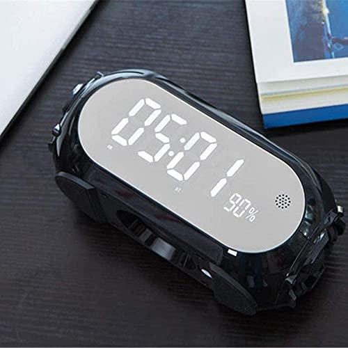 Inicio Relojes de cabecera Altavoz Bluetooth portátil Multifuncional Espejo Despertador, Pantalla LED Radio Despertador, Brillo Ajustable, Llamadas Manos Libres, Despertador Doble, Naranja
