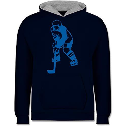 Sport Kind - Eishockeyspieler blau - 140 (9/11 Jahre) - Navy Blau/Grau meliert - Eishockey+Hoodie+Kinder - JH003K - Kinder Kontrast Hoodie