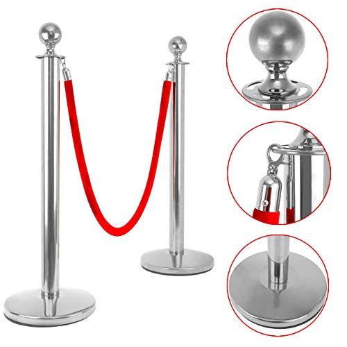 2//3M Barrera de Puntal Cola Barrera Cintur/ón Retr/áctil para Controlar 2 Estilos Acero Inoxidable Metal Color rojo 3m/& acero