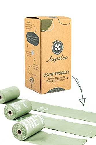 lupolos® Bolsas biodegradables para excrementos de perro 100 % compostables, ecológicas, biodegradables