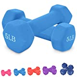 Neoprene Dumbbell Barbell Hand Weights 3/5/8/10 Pound for Warm Up&Women, Set of 2 (5LB X 2PCS)