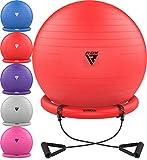 RDX Balón de Ejercicio con Base Resistencia Banda Yoga Fitness Pilates, Antideslizante Pelota de Ejercicio Embarazadas Gimnasia, Bola Suiza Rápida Bomba Fitball Oficina Casa Entrenamiento Equilibrio