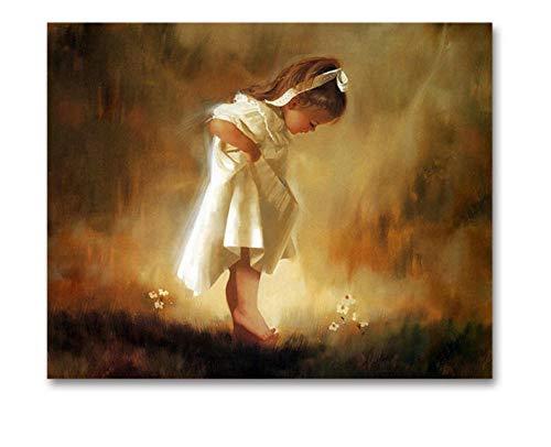 Malowanie według numerów sztuka malowanie według numeru zrób to sam meble dziecięce dekoracyjne obrazy mała dziewczynka biała spódnica anioł wypełnienie z ramą 40 x 50 cm