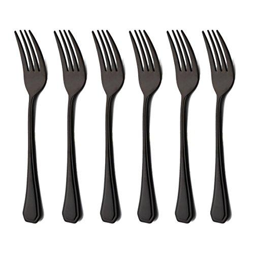 6 Piece Black Dinner Fork Sets 7.5 inch 18/0 Stainless Steel Set for 6 Salad Dessert Forks Silverware Sets Cutlery Utensils Dinnerware Mirror Polished Dishwasher Safe by Onlycooker