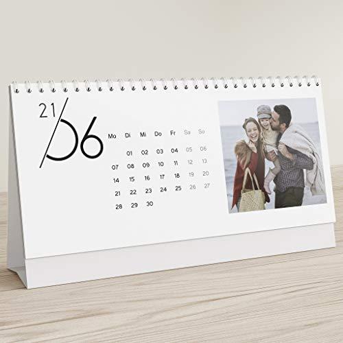 sendmoments Fotokalender 2021, Jahreskalender, Kalender für Digitale Fotos, Tischkalender zum Aufstellen mit persönlichen Bildern, Spiralbindung, Querformat 260x120, optional mit Veredelung