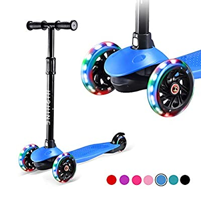 Hishine Kick Scooter for Kids with 3 Light up Wheels and Adjustable Height for 2-7 Years Old Ages Girls Boys Toddlers & Children,Lean to Steer, 3-Wheeled Scooters, Blue