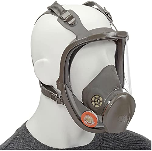 3M Safety 142-6900 Safety Reusable Full Face Mask Respirator, Dark Grey, Large