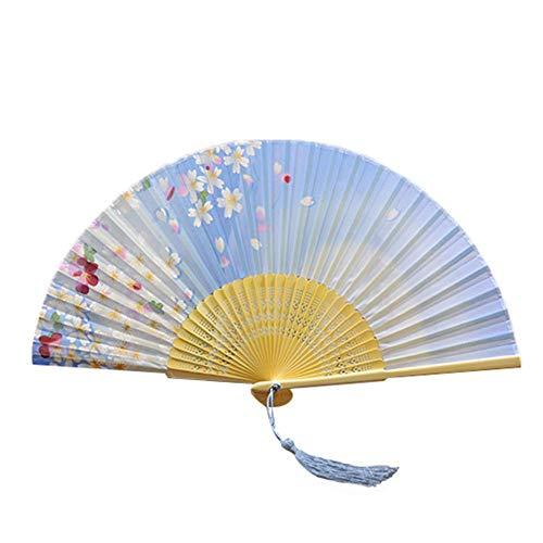 Abanicos de flores chinas de RedKids, estilo vintage, para mujer y hombre, bambú, con funda protectora, ideal como regalo de boda, fiesta, disfraz, 6 unidades (set A)