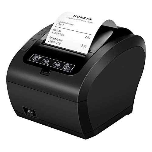 [WIFI 2.0] 80mm Nero Stampante termica Auto-Cut Supporto Cassetto 300mm sec MUNBYN Diretta con USB Ethernet Supporta Windows Linux System MAC ESC POS