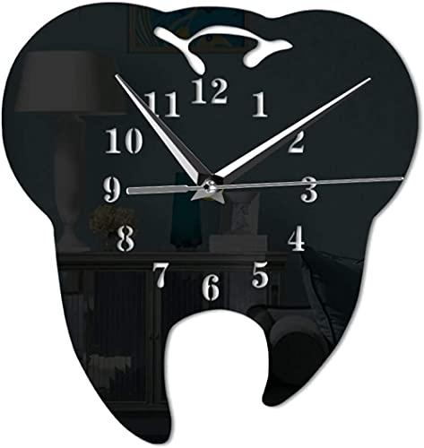 Grande decoración pared reloj espejo efecto diente dental reloj de pared reloj láser decorativo dental clínica oficina decoración dientes cuidado dental cirujano regalo fácil de leer para la decoració