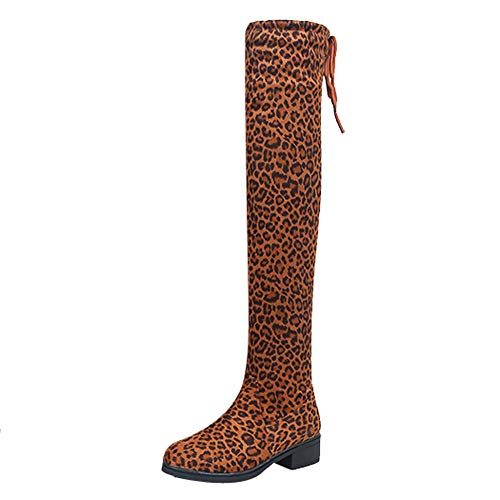 MYMYG Damen Chelsea Boots Overknees Frauen Wildleder Leopardenmuster runde Spitze hohe Stiefel Overknee-Schuhe Stiefel Langschaft High Boots Low Stack Ferse Freizeitschuhe