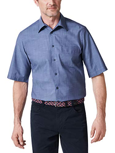 Walbusch Herren Hemd Bügelfrei Tropical einfarbig Rauchblau 45/46