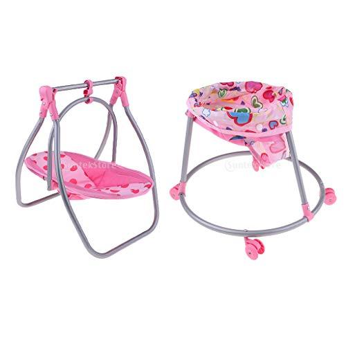 perfeclan 2pcs Cochecitos de Muñecas Plegables Silla para Niños Pequeños Decoración de Portador de Muñecas