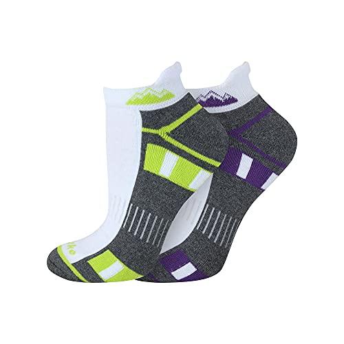 6 Pairs Ladies Prohike Cushioned Trainer Socks, White Grey Multi, Size 4-8