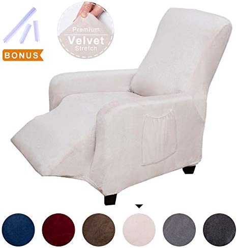 Best ACOMOPACK Recliner Premium Velvet Stretch Recliner Slipcovers, Beige Recliner Cover Couch SlipCovers