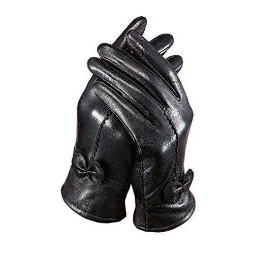 Tininna - Guantes para mujer o niña, con piel de cordero, impermeables, para invierno o motociclista negro Tamaño libre