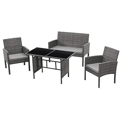 SVITA Brooklyn XL Polyrattan Essgruppe Lounge Garnitur Gartenmöbel Set Esstisch (Grau)