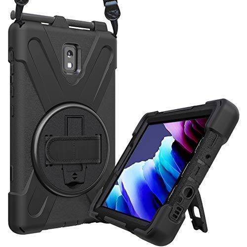 ProHülle Hart Hülle für Galaxy Tab Active 3 2020, Stoßfest Schutzhülle mit verstellbar Handschlaufe, Robust Heavy Duty Hybrid –Schwarz